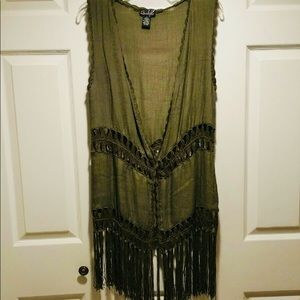 QUESTIONS ladies olive green long vest. Sz- Small